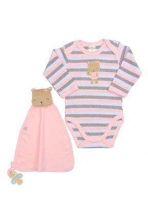 Conjunto body e cheirinho Best Club Baby listrado branco com rosa bebê e cinza com bordado urso