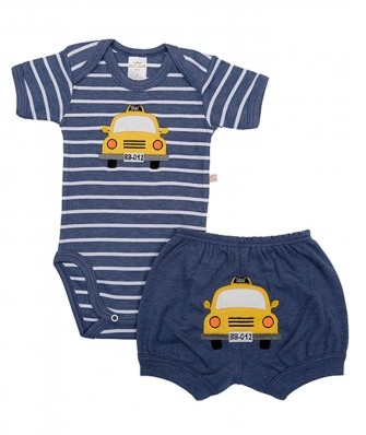 Conjunto body e shorts Best Club Baby azul jeans com bordado carro