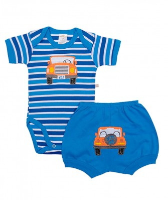 Conjunto body e shorts Best Club Baby com bordado carro