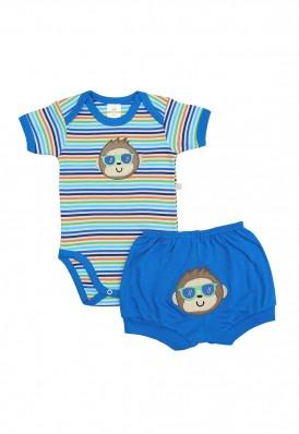 Conjunto body e shorts Best Club Baby listrado branco, azul e verde com bordado macaco