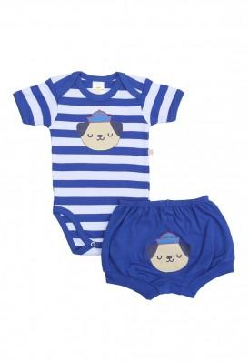 Conjunto body e shorts Best Club Baby listrado branco e azul com bordado cachorro