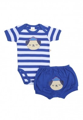 Conjunto body e shorts Best Club Baby listrado branco e azul com bordado cachorro