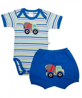 Conjunto body e shorts Best Club Baby listrado branco e azul com bordado caminhão