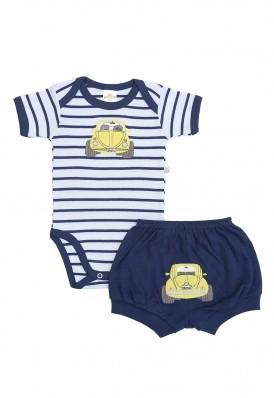 Conjunto body e shorts Best Club Baby listrado branco e azul marinho com bordado carro