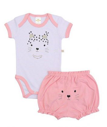 Conjunto body e shorts Best Club Baby listrado branco e rosa com bordado onça