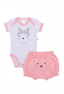 Conjunto body e shorts Best Club Baby listrado branco e rosa com bordado onça