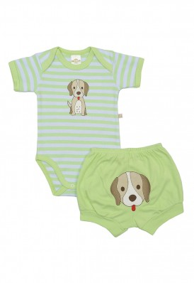 Conjunto body e shorts Best Club Baby listrado branco e verde com bordado cachorro