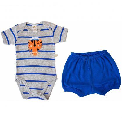 Conjunto Body e Shorts Best Club Baby Listrado Cinza e Azul com Bordado Tigre Marinheiro