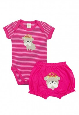 Conjunto body e shorts Best Club Baby listrado pink com bordado cachorro