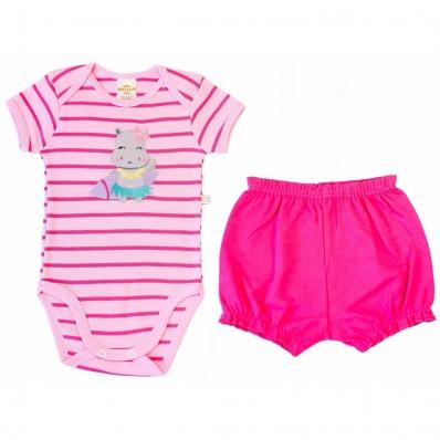 Conjunto Body e Shorts Best Club Baby Listrado Rosa e Pink com Bordado Hipopótamo