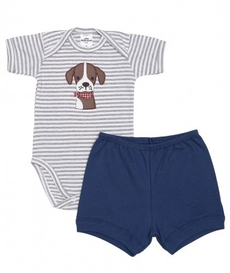Conjunto body manga curta e shorts Best Club Baby azul e off white com bordado cachorro