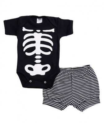 Conjunto body manga curta e shorts Best Club Baby preto e branco com bordado halloween
