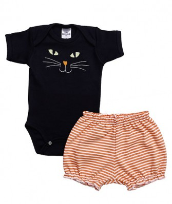 Conjunto body manga curta e shorts Best Club Baby preto e laranja com bordado halloween