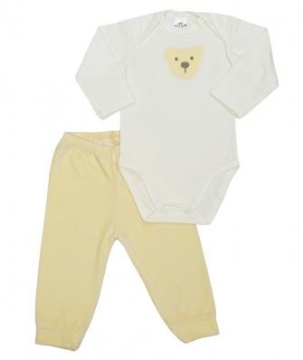Conjunto body manga longa e calça plush Best Club Baby creme e amarelo claro com bordado urso