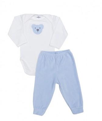 Conjunto body manga longa e calça plush Best Club Baby creme e azul bebê com bordado urso
