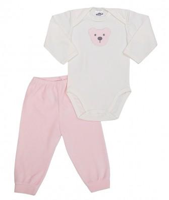Conjunto body manga longa e calça plush Best Club Baby creme e rosa bebê com bordado urso
