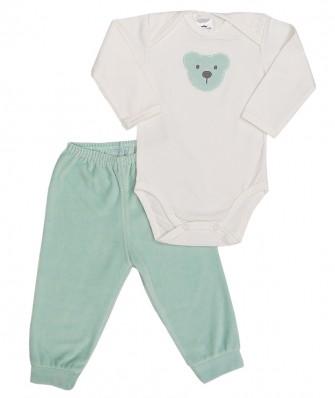 Conjunto body manga longa e calça plush Best Club Baby creme e verde claro com bordado urso