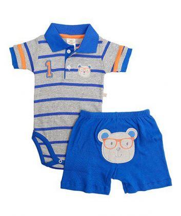 Conjunto body polo e bermuda Best Club Baby cinza e azul com bordado urso