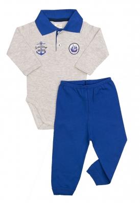 Conjunto body polo e calça Best Club Baby cinza claro e azul com bordado marinheiro