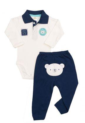Conjunto body polo e calça Best Club Baby creme e azul marinho com bordado urso