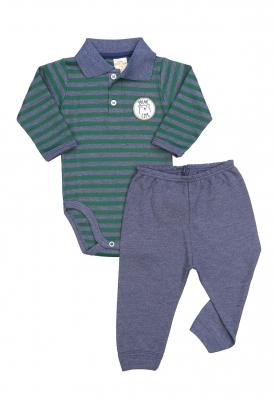 Conjunto body polo e calça Best Club Baby listrado azul jeans e verde com bordado urso