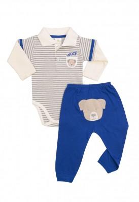 Conjunto body polo e calça Best Club Baby listrado creme com cinza e azul  com bordado cachorro