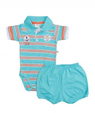 Conjunto body polo e shorts Best Club Baby azul turquesa com bordado marinheiro