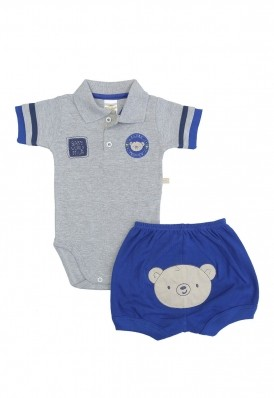 Conjunto body polo e shorts Best Club Baby cinza e azul com bordado urso