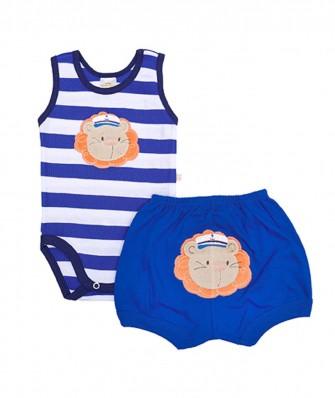 Conjunto body regata e shorts Best Club Baby branco, azul e azul marinho com bordado leão