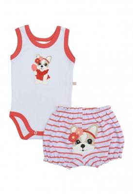 Conjunto body regata e shorts Best Club Baby branco e vermelho com bordado cachorro