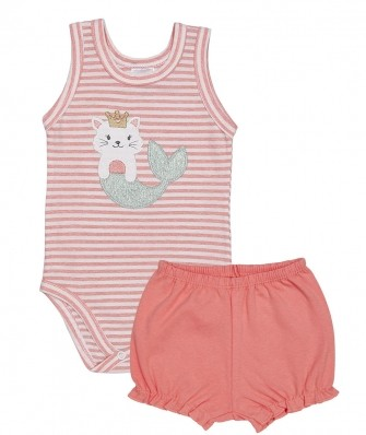 Conjunto body regata e shorts Best Club Baby rosa pêssego e off white com bordado sereia