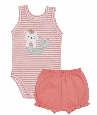 Conjunto body regata e shorts Best Club Baby rosa pêssego e off white com bordado sereia