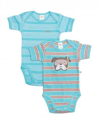 Kit 2 peças body Best Club Baby azul turquesa bordado cachorro