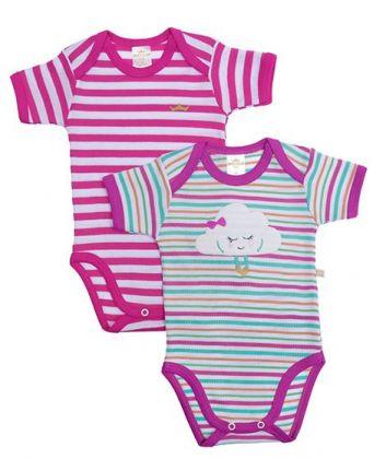 Kit 2 peças body Best Club Baby branco, roxo e pink bordado nuvem