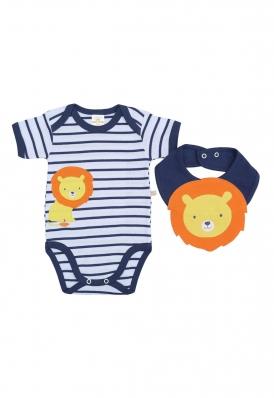 Kit 2 peças body e babador Best Club Baby branco e azul marinho bordado leão