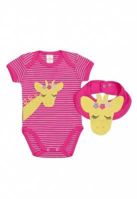 Kit 2 peças body e babador Best Club Baby pink bordado girafa