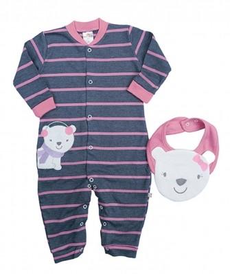 Kit 2 peças macacão e babador Best Club Baby azul e rosa com bordado urso