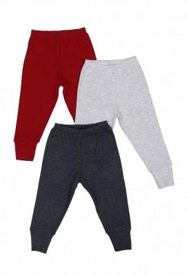 Kit 3 Calças com Pé Reversível Best Club Baby cinza claro e Vermelho