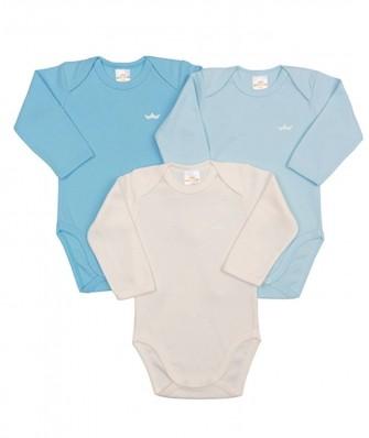 Kit 3 peças body Best Club Baby azul bebê e creme