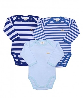 Kit 3 peças body Best Club Baby listrado azul e branco