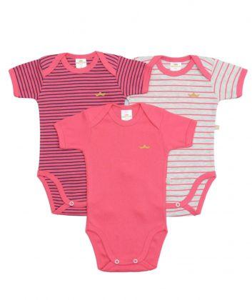 Kit 3 peças body Best Club Baby listrado pink