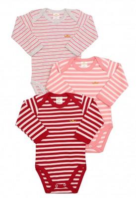Kit 3 peças body Best Club Baby listrado pink, cinza e creme
