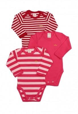 Kit 3 peças body Best Club Baby listrado pink e rosa