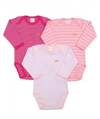 Kit 3 peças body Best Club Baby listrado rosa e branco