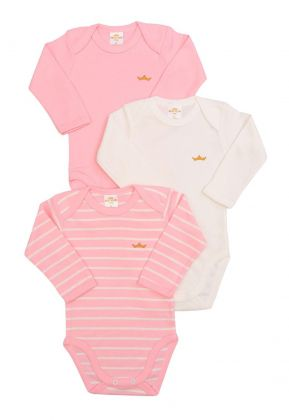 Kit 3 peças body Best Club Baby listrado rosa  e creme