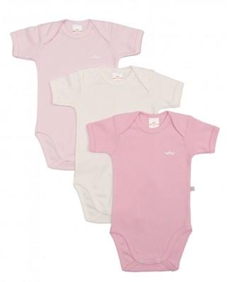 Kit 3 peças body Best Club Baby rosa bebê e creme