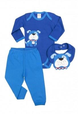 Kit 3 peças body, calça e babador Best Club Baby azul com bordado cachorro