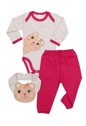 Kit 3 peças body, calça e babador Best Club Baby cinza claro e pink com bordado urso
