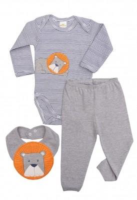 Kit 3 peças body, calça e babador Best Club Baby Listrado azul marinho com branco e cinza com bordado leão