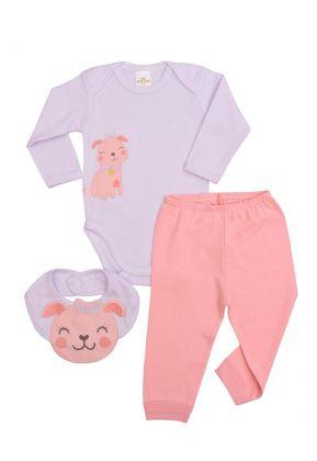 Kit 3 peças body, calça e babador Best Club Baby Listrado rosa bebê e branco com bordado cachorro